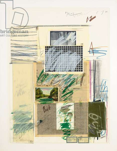 Untitled, 1974 (paper, oil stick, wax crayon, adhesive, graphite and printed pap)