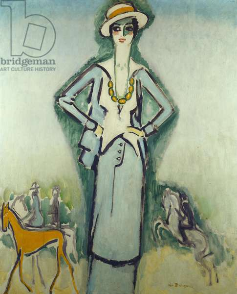 Coco Chanel at the Races, Deauville, c.1920-25 (oil on canvas)