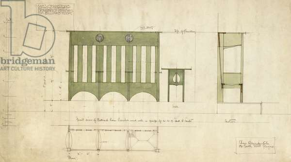 Design for benches and a table, shown in elevation and section plan, 1898 (pencil, watercolour)