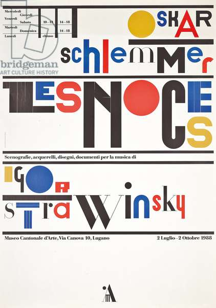 Poster for the Museo d'Arte in Lugano, advertising Oskar Schlemmer and Igor Stravinsky's 'Les Noces', 1988 (colour litho)