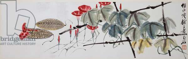 Morning Glories (ink and colour on paper)