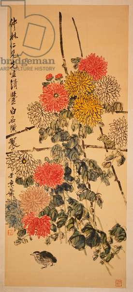 Quail Under a Trellis of Chrysanthemums (hanging scroll, ink & colour on silk)