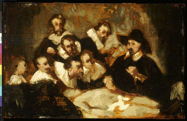 The Anatomy Lesson, after Rembrandt, c.1856 (oil on panel)
