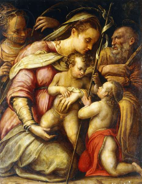 The Holy Family with the Infant Saint John the Baptist and Saint Catherine,  (oil on canvas)