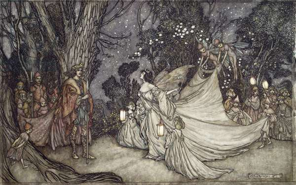 The Meeting of Oberon and Titania, 1908 (pen and black ink and watercolour)