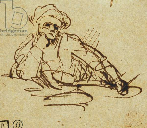 Study of a Writer, Seated, Pausing in Thought, (pen and brown ink)
