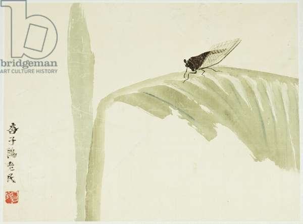 Banana Leaves and Cicada, 1969 (ink and colour on silk)
