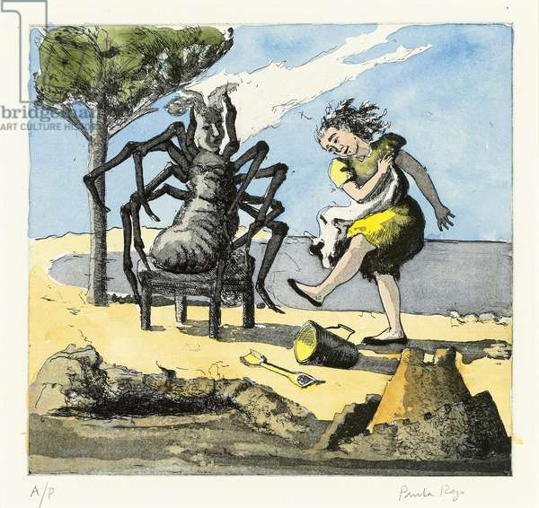 Little Miss Muffet II, 1989 (etching and aquatint with hand-colouring)
