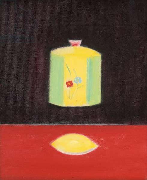 Lemon and vase still life, 1981 (oil on board)