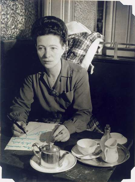 Portrait of Simone de Beauvoir, Cafe de Flore, Paris, c.1945 (vintage silver print)