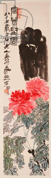 Peonies and Rock, 1947 (hanging scroll,  ink and colour on paper)