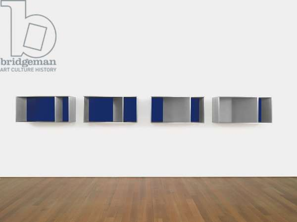 Untitled, 1983 (83-7 LIPPINCOTT), 1983 (anondized aluminum, blue Plexiglas; four units)