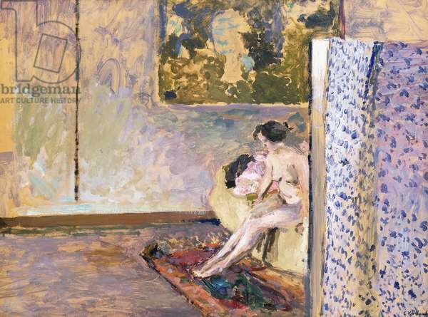 In Bonnard's Studio at 60 Rue de Douai: Nude by a Screen; Dans l'Atelier de Bonnard, 60 Rue de Douai: Nu au Paravent,  (oil on paper laid on canvas)