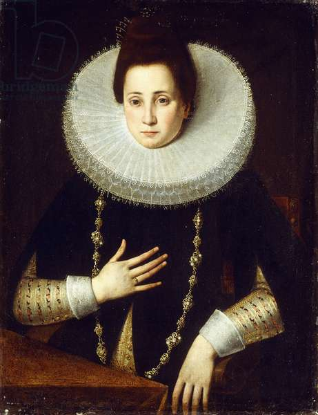 Portrait of a Lady, seated half-length, wearing a Black Costume with White Ruff (oil on canvas)
