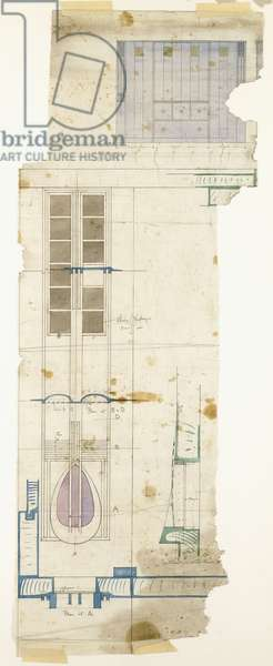 Design for a wardrobe, shown in elevation, with half-full size details of decorative panel, 1904 (pencil, watercolour)