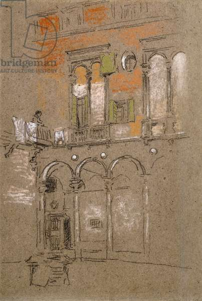 A Venetian Courtyard,  (charcoal and pastel on gray paper)