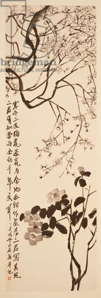 Plum Blossoms and Camellia, 1922 (hanging scroll, ink and colour on paper)
