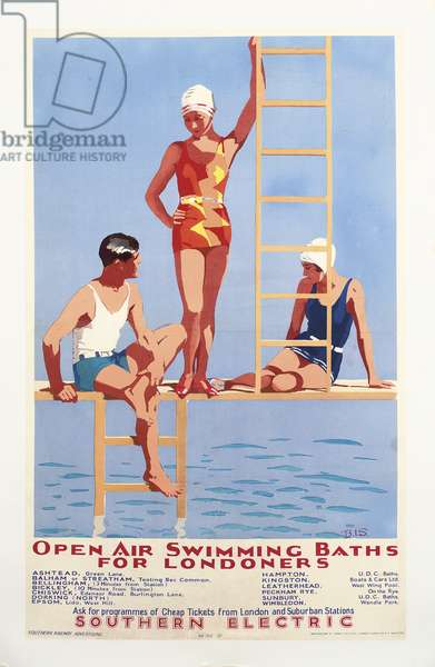 'Open Air Swimming Baths for Londoners', poster advertising Southern Electric Railways, 1932 (colour litho)