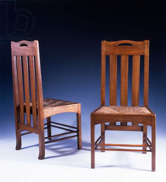 An oak dining chair designed by Charles Rennie Mackintosh for the Argyle Street Tearooms, c.1898-99 (oak)