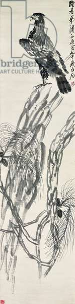 Eagle on Pine Tree, 1950 (hanging scroll, ink on paper)