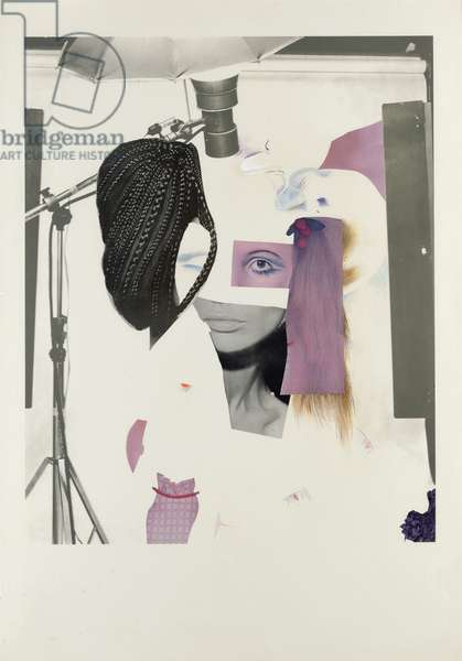 Fashion-Plate (Cosmetic-Study VII), 1969 (acrylic, paper collage, pastel and cosmetics on lithographic paper)
