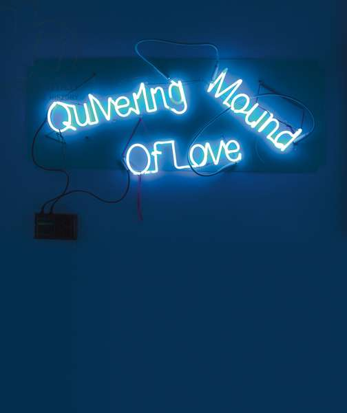 Quivering Mound of Love, 2003 (neon lights, light green translucent Plexiglas, wire, string and transformer)