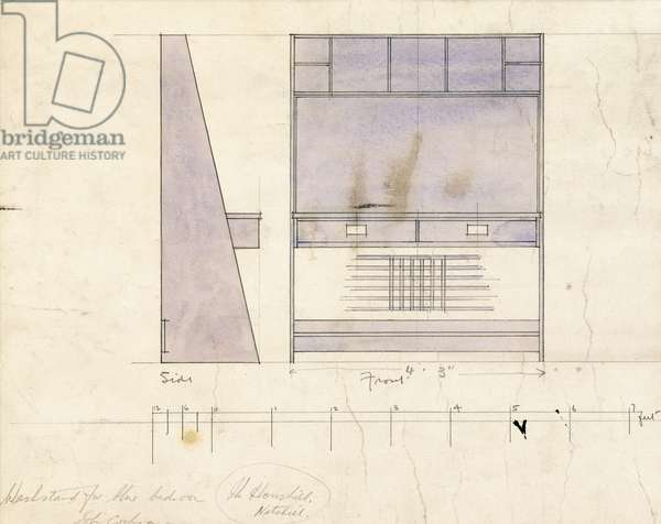 Design for a washstand, shown in side and front elevation, 1904 (pencil, watercolour)