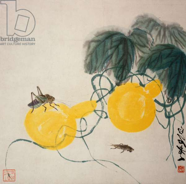 Grasshoppers on Yellow Gourds (hanging scroll, ink & colour on paper)