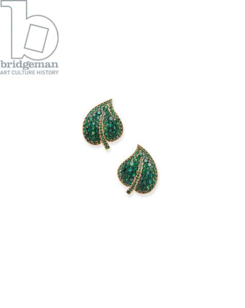 Pair of ear clips, c.1967 (emeralds, enamel & gold)