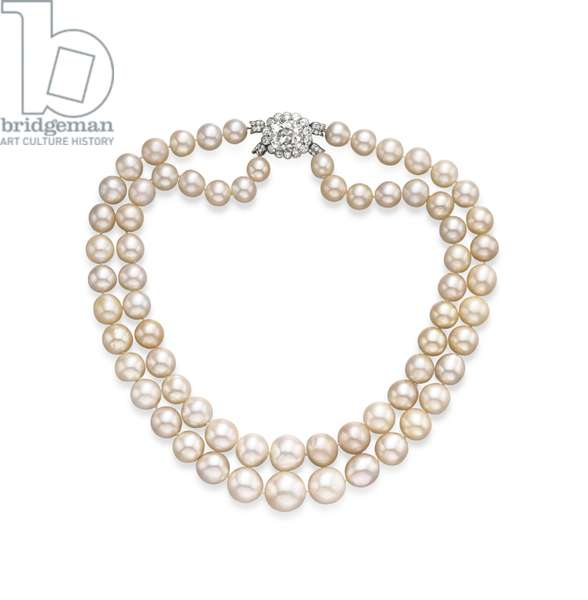The Baroda Pearl Necklace (natural pearls with diamond clasp)