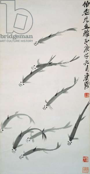 Nine Fish, 1930 (hanging scroll, ink on paper)