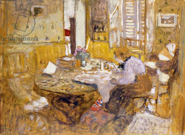 Madame Vuillard Reading in the Dining Room, rue Truffant; Madame Vuillard Lisant dans la Salle ˆ Manger, rue Truffant, 1903 (oil on board mounted on cradled panel)
