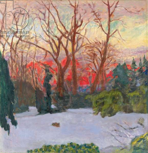 The Garden Under Snow, Sunset; Le Jardin sous la Neige, Soleil Couchant, c.1910 (oil on canvas)