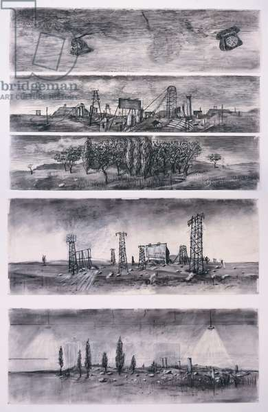 Drawings from Il Ritorno d'Ulisse (The Return of Ulysses), 1998 (charcoal and coloured chalks on paper ; five elements)