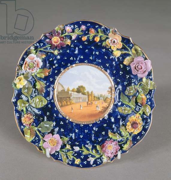 Chamberlain's Worcester plate with encrusted flower and a view of Montpellier Pump Room, Cheltenham, 1820 (ceramic)