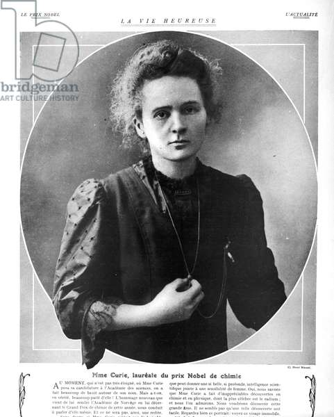 Portrait of Marie Curie (1867-1934) (b/w photo)