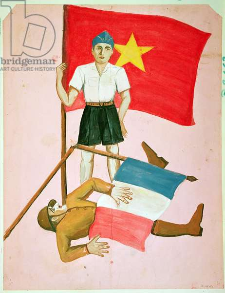 A Viet-Cong overwhelming a French soldier, poster taken from the Viet-Minh headquarters by a member of the French expeditionary force, 1946 (w/c on paper)