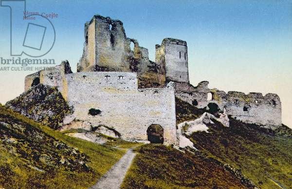 Postcard depicting the Castle of Countess Elisabeth Bathory (1560-1614) at Cachtice, early twentieth century (photo)