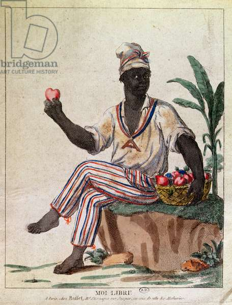 'I am Free', allegory of the first liberation of slaves in the Antilles, c.1794 (colour litho)