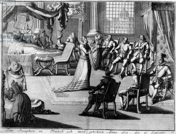 Presentation at Fontainebleau of the Dauphin to his father, King Henri IV, on 27 September, 1601 (engraving)