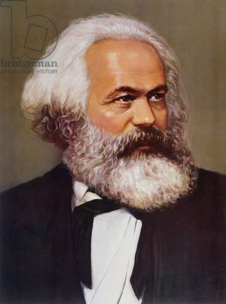 Portrait of Karl Marx (1818-93) c.1970 (chromolitho)