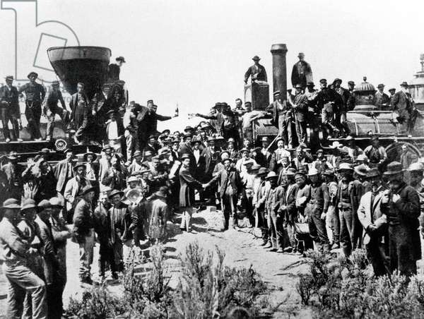 Meeting of the Union Pacific and the Central Pacific Railways at Promontory Point, Omaha, 10th May 1869 (b/w photo)
