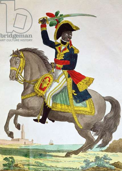 Portrait of Toussaint Louverture (1743-1803) on horseback, early 19th century (colour engraving)