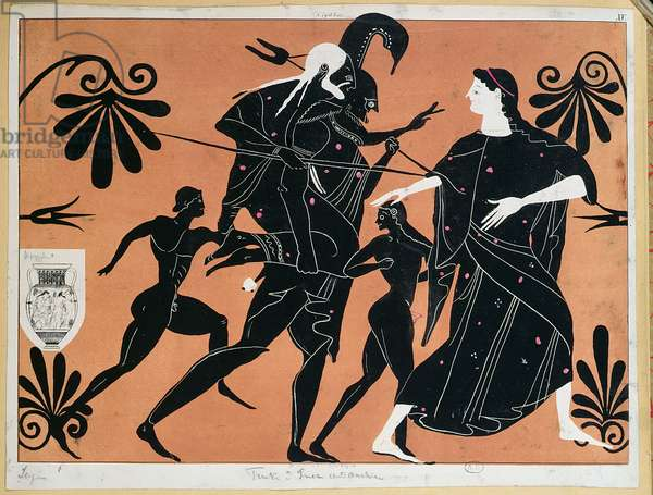 Scene from an ancient Greek vase depicting the flight of Aeneas from Troy with his sons and carrying his father Anchises on his back (colour litho)