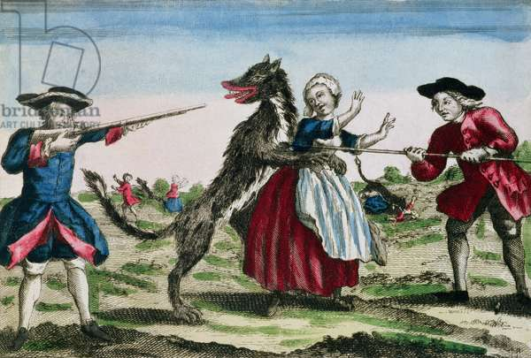The Beast of Gevaudan, published by Basset, 1764 (colour engraving)