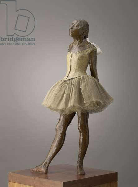 Little Dancer Aged Fourteen, modeled 1879–81, cast 1919–21 (bronze with gauze tutu and silk ribbon, on wooden base)