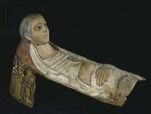 Mummy mask of a man (painted wood)