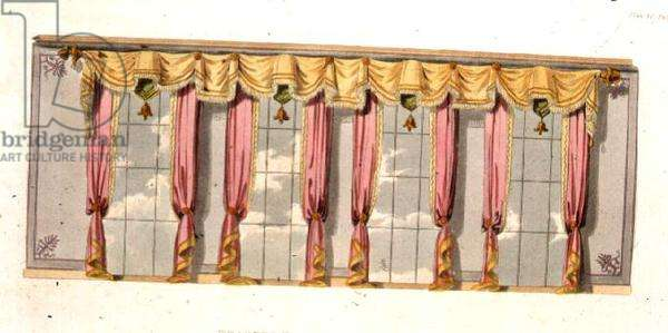 Drawing Room Window Curtains, plate 92 from Ackermann's Repository of Arts, published 1816 (colour litho)