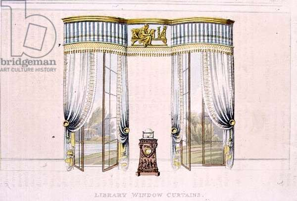 Library window curtains, plate 106 from Ackermann's Repository of Arts, published 1819 (colour litho)