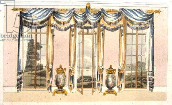 Drawing room window curtains, plate 109 from Ackermann's Repository of Arts, published 1820 (colour litho)